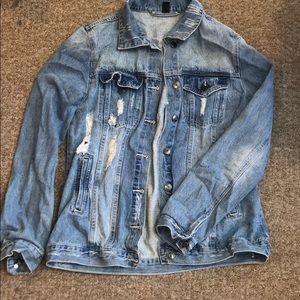 Oversized Distressed Jean Jacket
